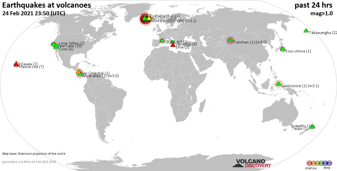 World map showing volcanoes with shallow (less than 20 km) earthquakes within 20 km radius  during the past 24 hours on 24 Feb 2021 Number in brackets indicate nr of quakes.