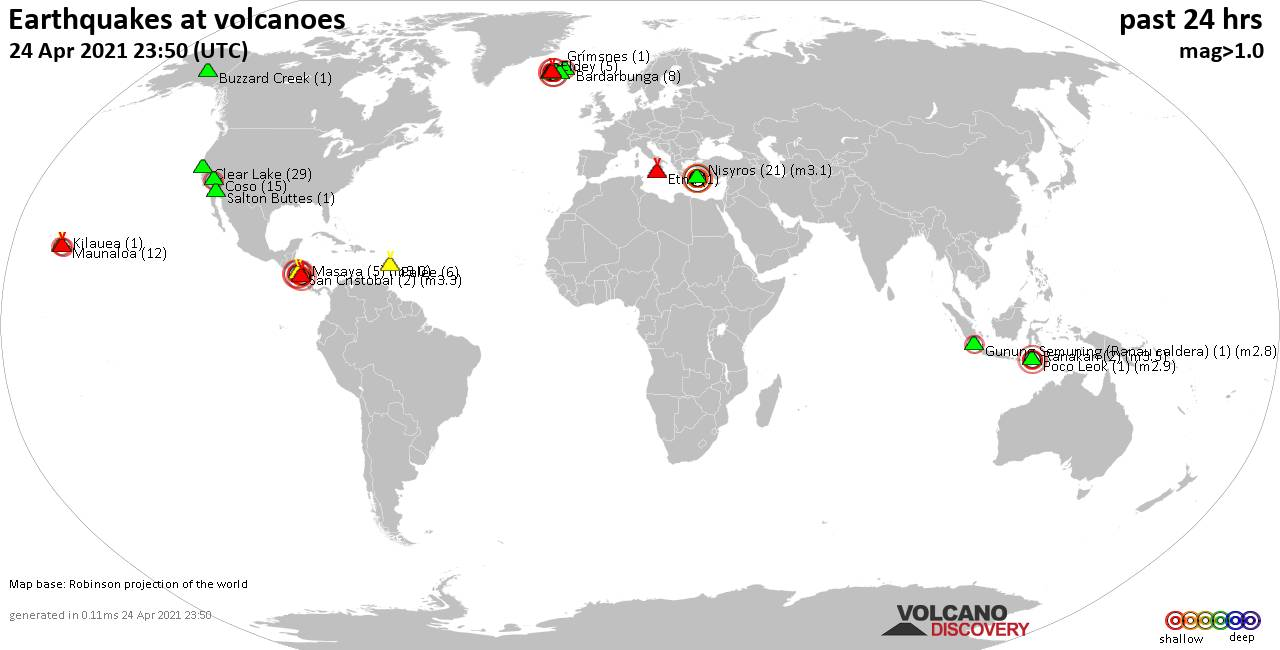 World map showing volcanoes with shallow (less than 20 km) earthquakes within 20 km radius  during the past 24 hours on 24 Apr 2021 Number in brackets indicate nr of quakes.