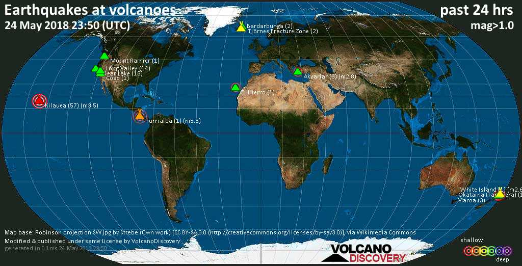 World map showing volcanoes with shallow (less than 20 km) earthquakes within 20 km radius  during the past 24 hours on 24 May 2018 Number in brackets indicate nr of quakes.