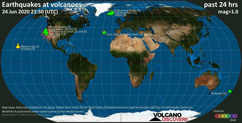 World map showing volcanoes with shallow (less than 20 km) earthquakes within 20 km radius  during the past 24 hours on 24 Jun 2020 Number in brackets indicate nr of quakes.