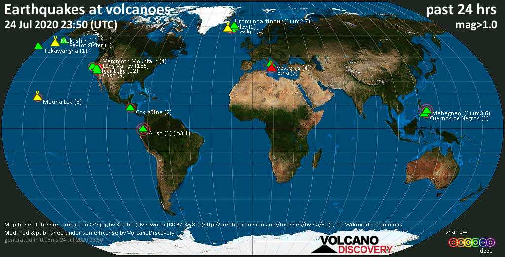 World map showing volcanoes with shallow (less than 20 km) earthquakes within 20 km radius  during the past 24 hours on 24 Jul 2020 Number in brackets indicate nr of quakes.