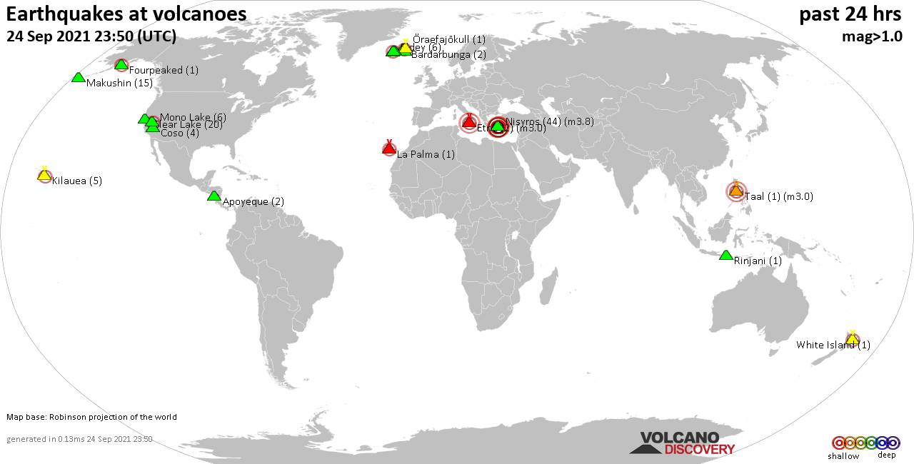 World map showing volcanoes with shallow (less than 20 km) earthquakes within 20 km radius  during the past 24 hours on 24 Sep 2021 Number in brackets indicate nr of quakes.
