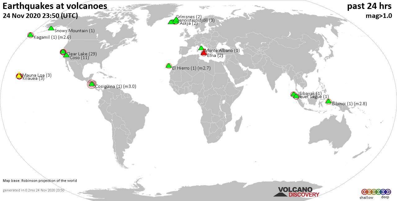 World map showing volcanoes with shallow (less than 20 km) earthquakes within 20 km radius  during the past 24 hours on 24 Nov 2020 Number in brackets indicate nr of quakes.