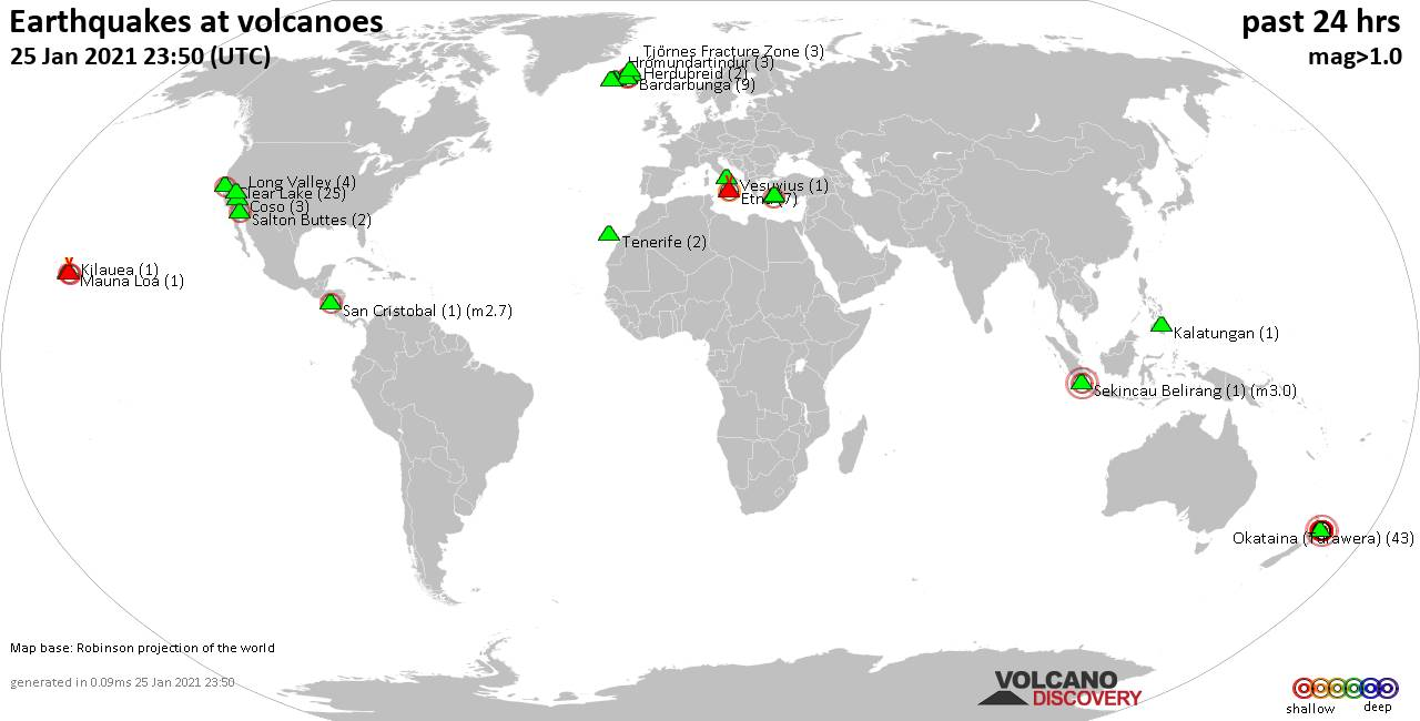 World map showing volcanoes with shallow (less than 20 km) earthquakes within 20 km radius  during the past 24 hours on 25 Jan 2021 Number in brackets indicate nr of quakes.