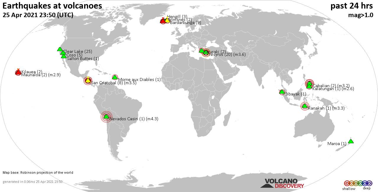 World map showing volcanoes with shallow (less than 20 km) earthquakes within 20 km radius  during the past 24 hours on 25 Apr 2021 Number in brackets indicate nr of quakes.