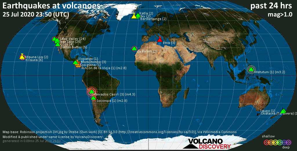 World map showing volcanoes with shallow (less than 20 km) earthquakes within 20 km radius  during the past 24 hours on 25 Jul 2020 Number in brackets indicate nr of quakes.