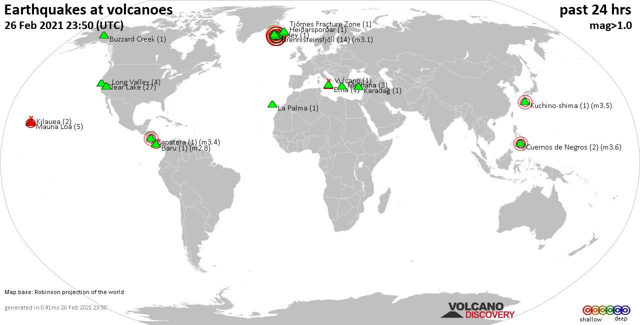 World map showing volcanoes with shallow (less than 20 km) earthquakes within 20 km radius  during the past 24 hours on 26 Feb 2021 Number in brackets indicate nr of quakes.