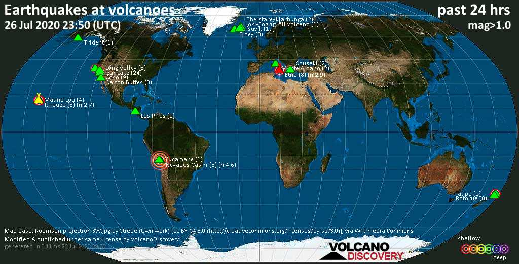 World map showing volcanoes with shallow (less than 20 km) earthquakes within 20 km radius  during the past 24 hours on 26 Jul 2020 Number in brackets indicate nr of quakes.
