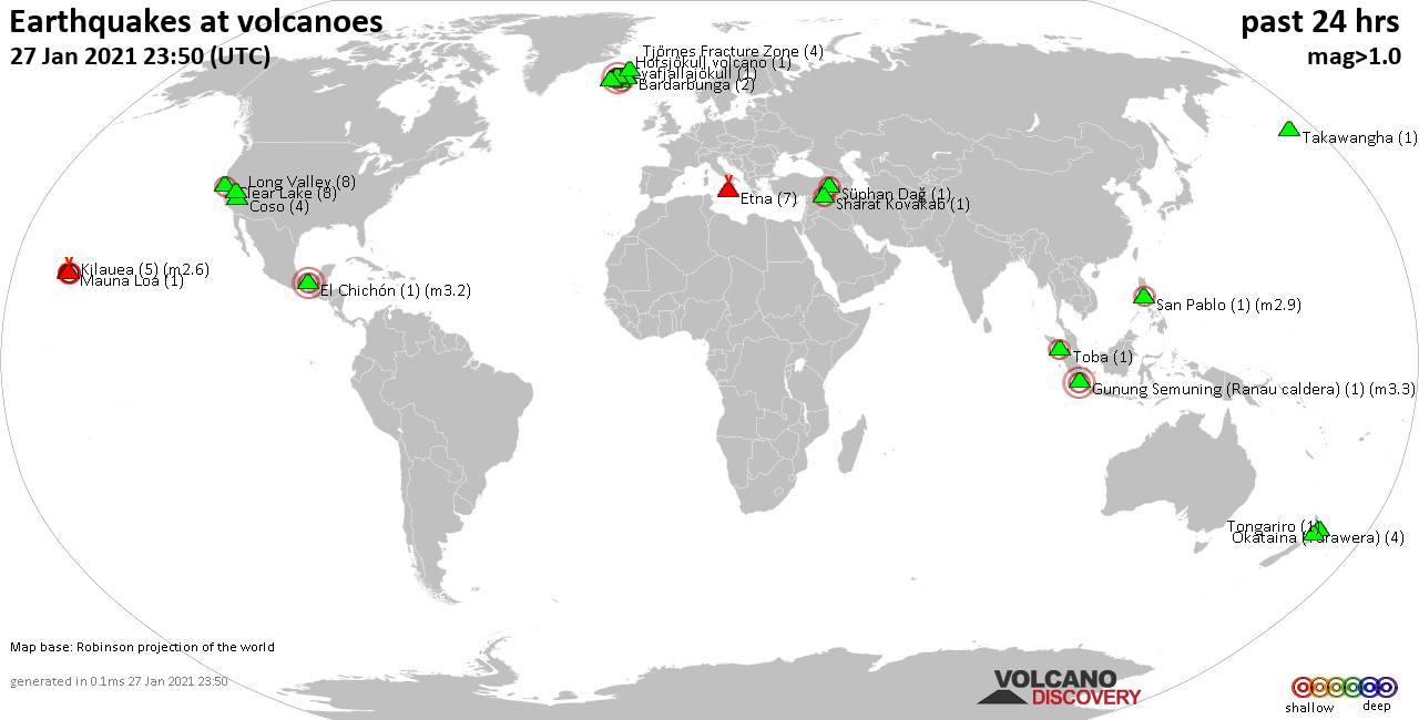 World map showing volcanoes with shallow (less than 20 km) earthquakes within 20 km radius  during the past 24 hours on 27 Jan 2021 Number in brackets indicate nr of quakes.