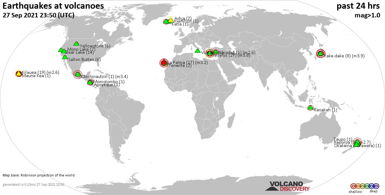World map showing volcanoes with shallow (less than 20 km) earthquakes within 20 km radius  during the past 24 hours on 27 Sep 2021 Number in brackets indicate nr of quakes.