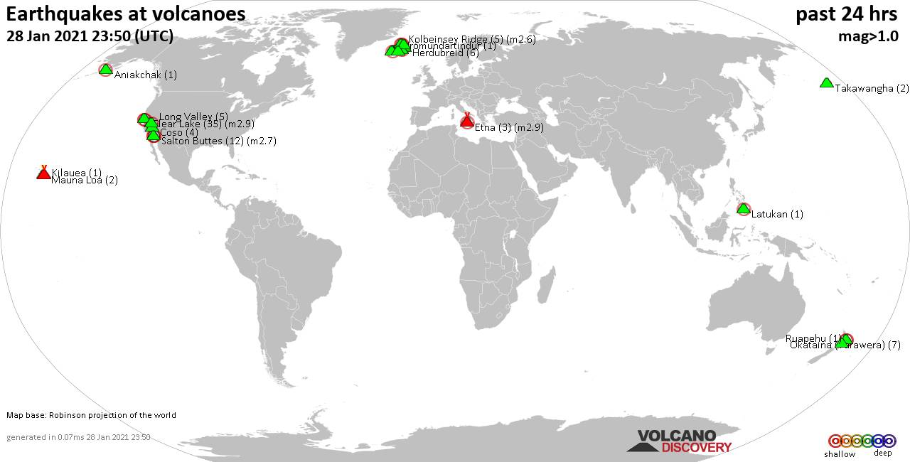 World map showing volcanoes with shallow (less than 20 km) earthquakes within 20 km radius  during the past 24 hours on 28 Jan 2021 Number in brackets indicate nr of quakes.