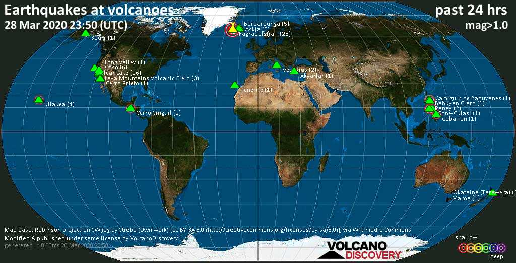 World map showing volcanoes with shallow (less than 20 km) earthquakes within 20 km radius  during the past 24 hours on 28 Mar 2020 Number in brackets indicate nr of quakes.