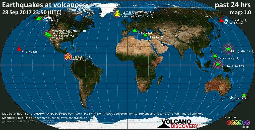 World map showing volcanoes with shallow (less than 20 km) earthquakes within 20 km radius  during the past 24 hours on 28 Sep 2017 Number in brackets indicate nr of quakes.