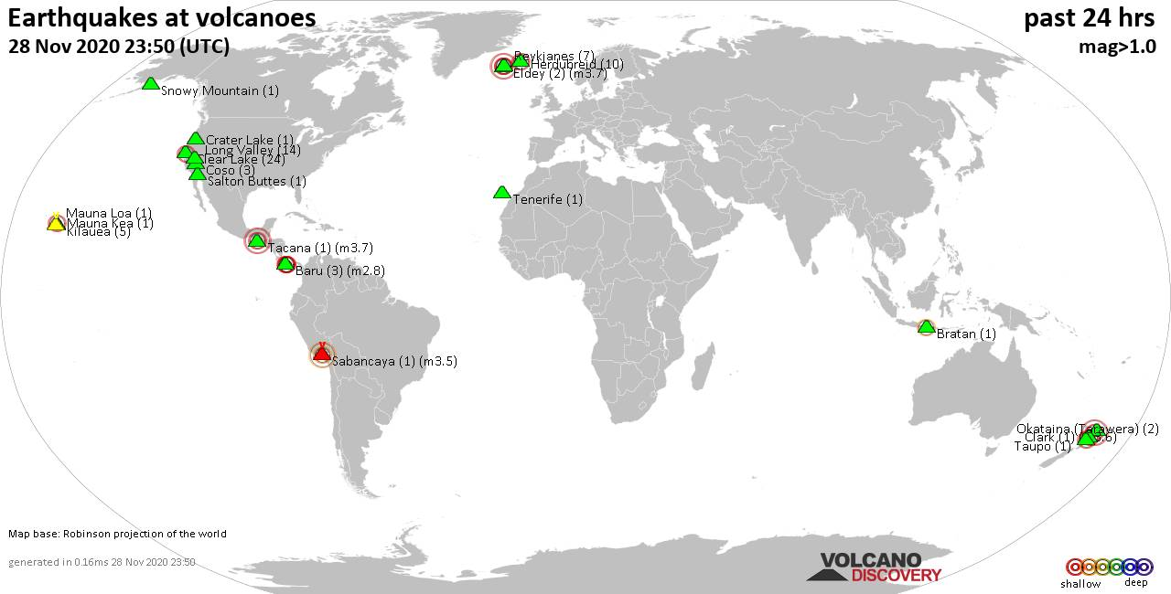 World map showing volcanoes with shallow (less than 20 km) earthquakes within 20 km radius  during the past 24 hours on 28 Nov 2020 Number in brackets indicate nr of quakes.