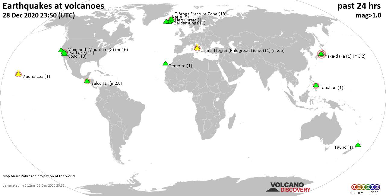 World map showing volcanoes with shallow (less than 20 km) earthquakes within 20 km radius  during the past 24 hours on 28 Dec 2020 Number in brackets indicate nr of quakes.