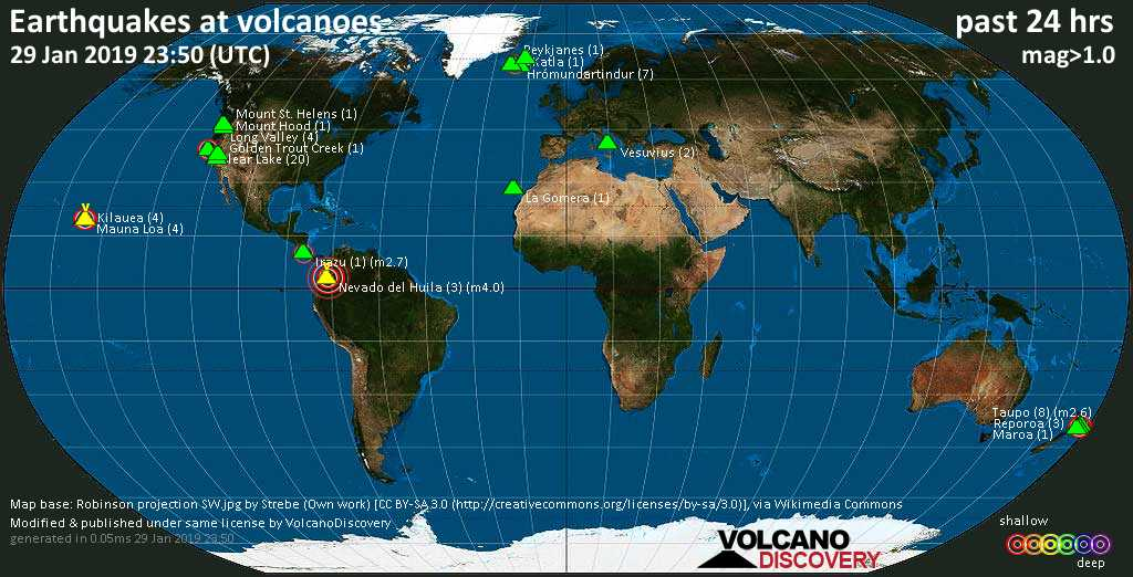 World map showing volcanoes with shallow (less than 20 km) earthquakes within 20 km radius  during the past 24 hours on 29 Jan 2019 Number in brackets indicate nr of quakes.