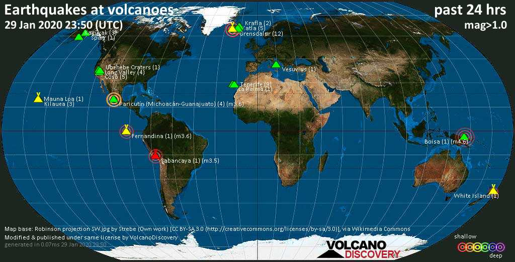 World map showing volcanoes with shallow (less than 20 km) earthquakes within 20 km radius  during the past 24 hours on 29 Jan 2020 Number in brackets indicate nr of quakes.