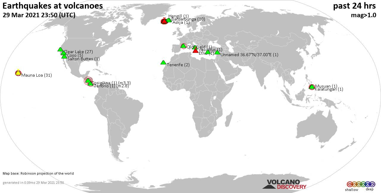 World map showing volcanoes with shallow (less than 20 km) earthquakes within 20 km radius  during the past 24 hours on 29 Mar 2021 Number in brackets indicate nr of quakes.