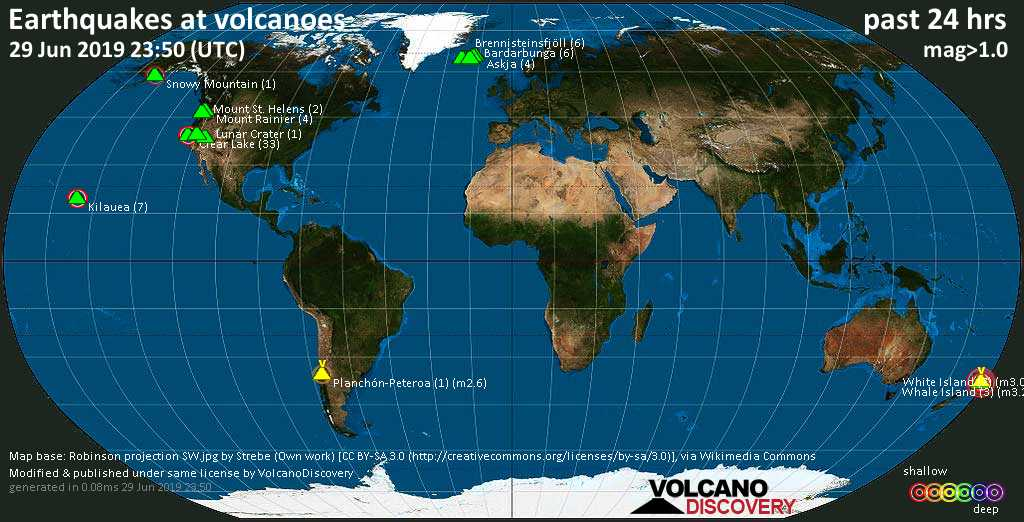 World map showing volcanoes with shallow (less than 20 km) earthquakes within 20 km radius  during the past 24 hours on 29 Jun 2019 Number in brackets indicate nr of quakes.