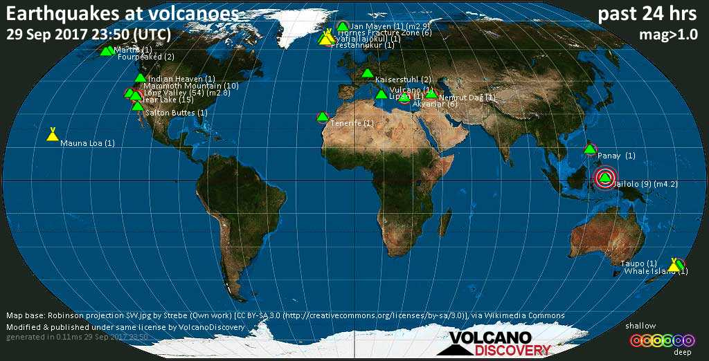 World map showing volcanoes with shallow (less than 20 km) earthquakes within 20 km radius  during the past 24 hours on 29 Sep 2017 Number in brackets indicate nr of quakes.