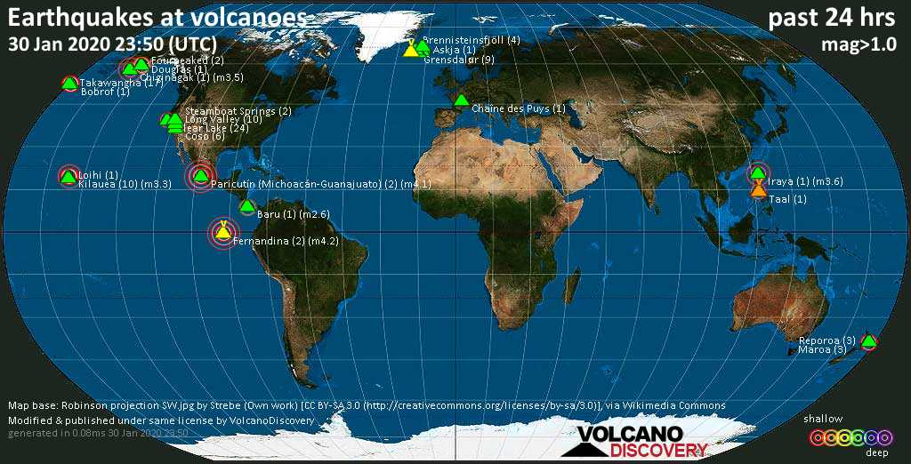 World map showing volcanoes with shallow (less than 20 km) earthquakes within 20 km radius  during the past 24 hours on 30 Jan 2020 Number in brackets indicate nr of quakes.