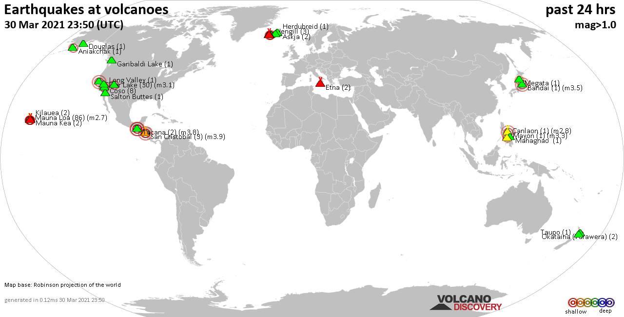 El mapa mundial que muestra los volcanes con terremotos poco profundos (menos de 20 km) en un radio de 20 km en las últimas 24 horas el 30 de marzo de 2021 indica el número de terremotos entre paréntesis.