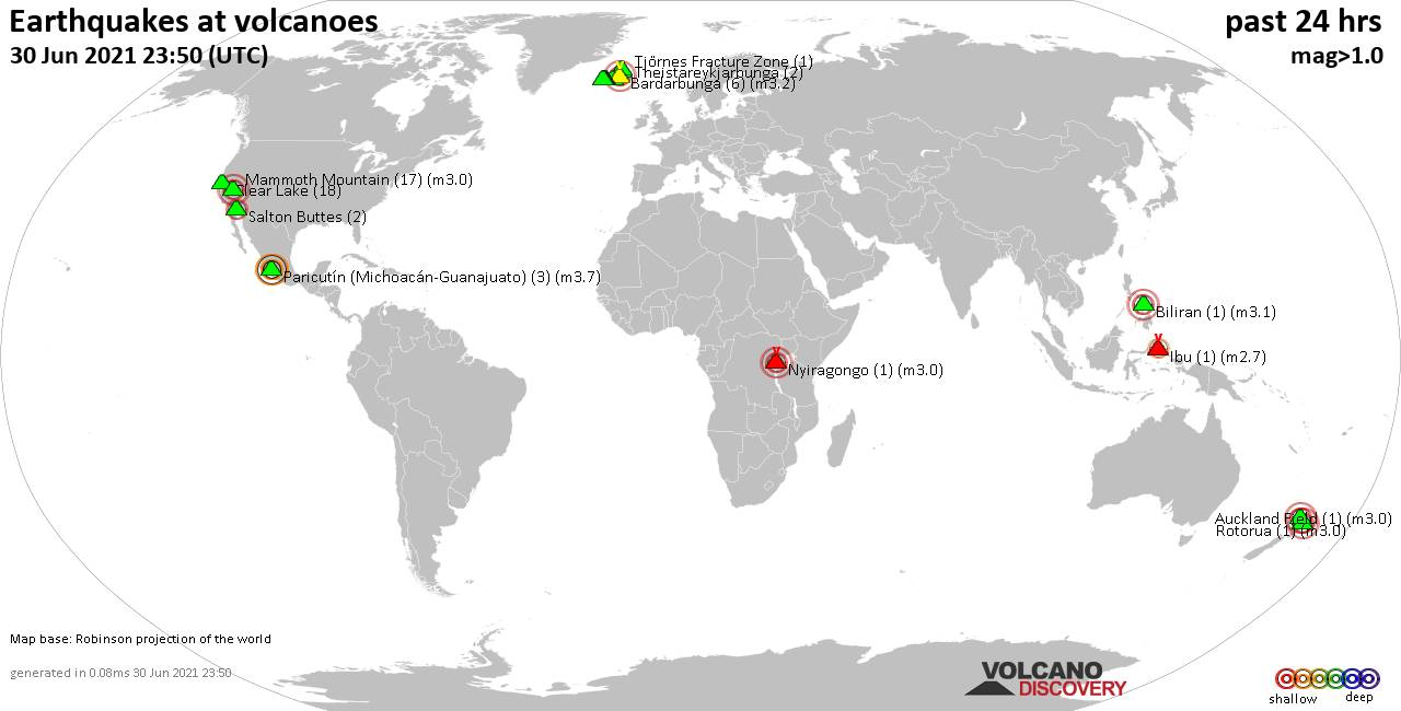 World map showing volcanoes with shallow (less than 20 km) earthquakes within 20 km radius  during the past 24 hours on 30 Jun 2021 Number in brackets indicate nr of quakes.
