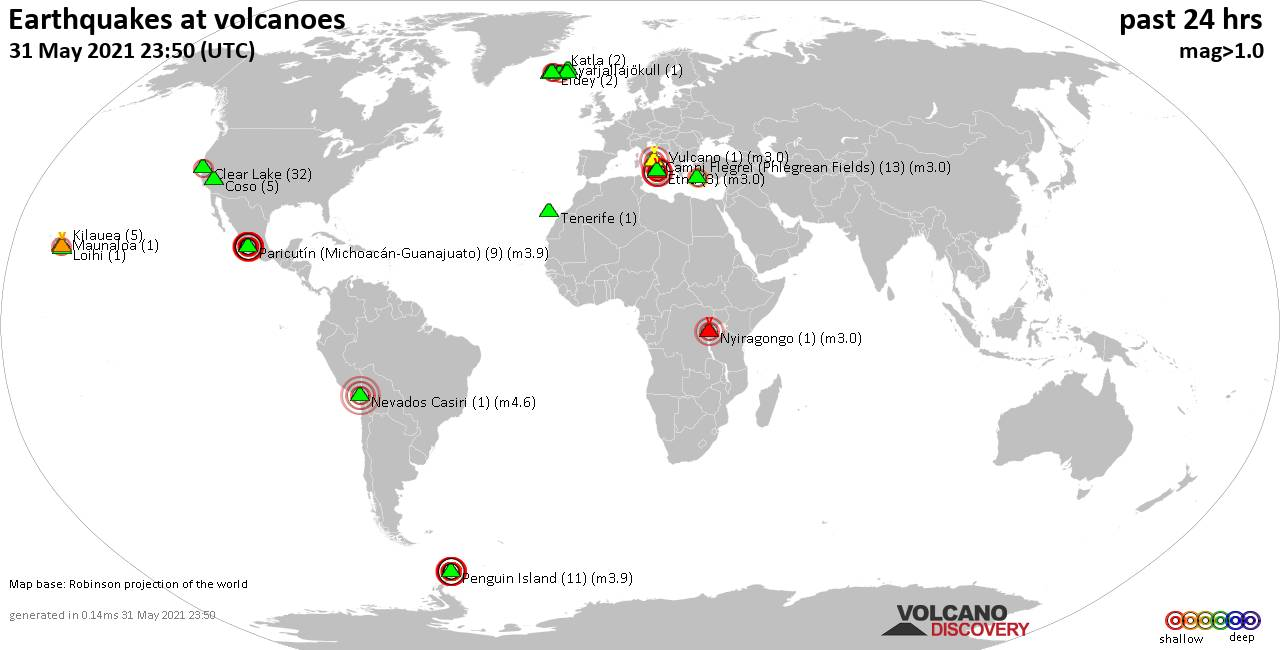 World map showing volcanoes with shallow (less than 20 km) earthquakes within 20 km radius  during the past 24 hours on 31 May 2021 Number in brackets indicate nr of quakes.