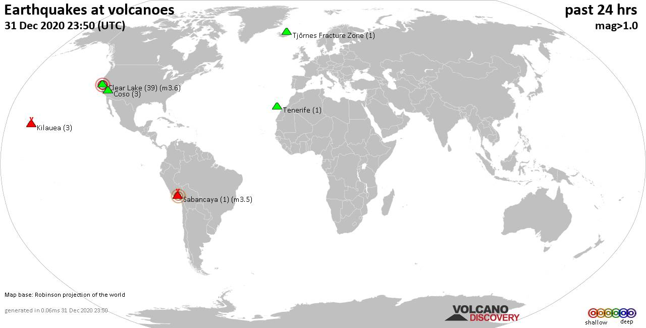 World map showing volcanoes with shallow (less than 20 km) earthquakes within 20 km radius  during the past 24 hours on 31 Dec 2020 Number in brackets indicate nr of quakes.