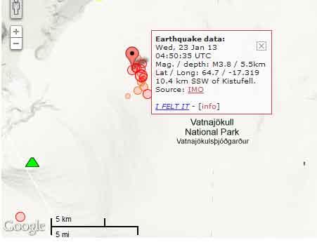 Kaart van rencent quakes onder Bardabunga vulkaan