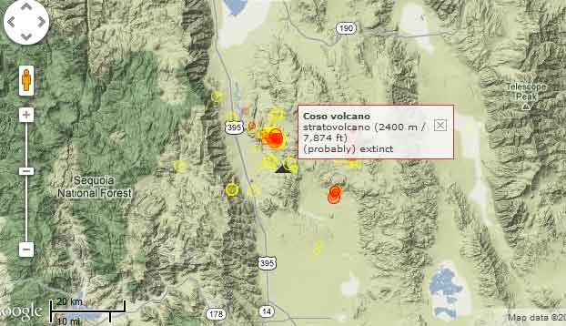 Location of recent quakes in the Coso volcanic field (red=past 48 hours, yellow=past week)