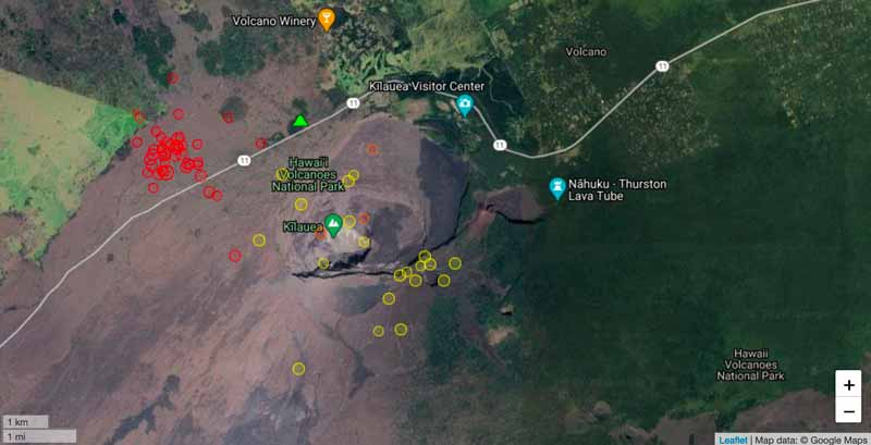 Location of today's quakes (red) near the summit of Kilauea volcano