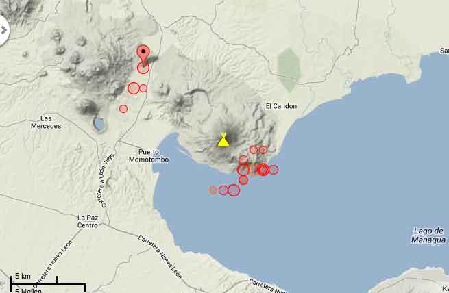 Recent earthquakes near Momotombo volcano