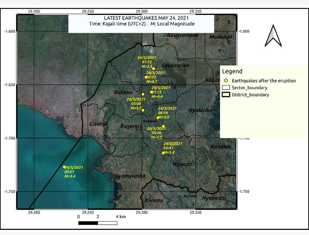 Earthquakes detected near Nyiragongo on 24 May (source: www.rmb.gov.rw)