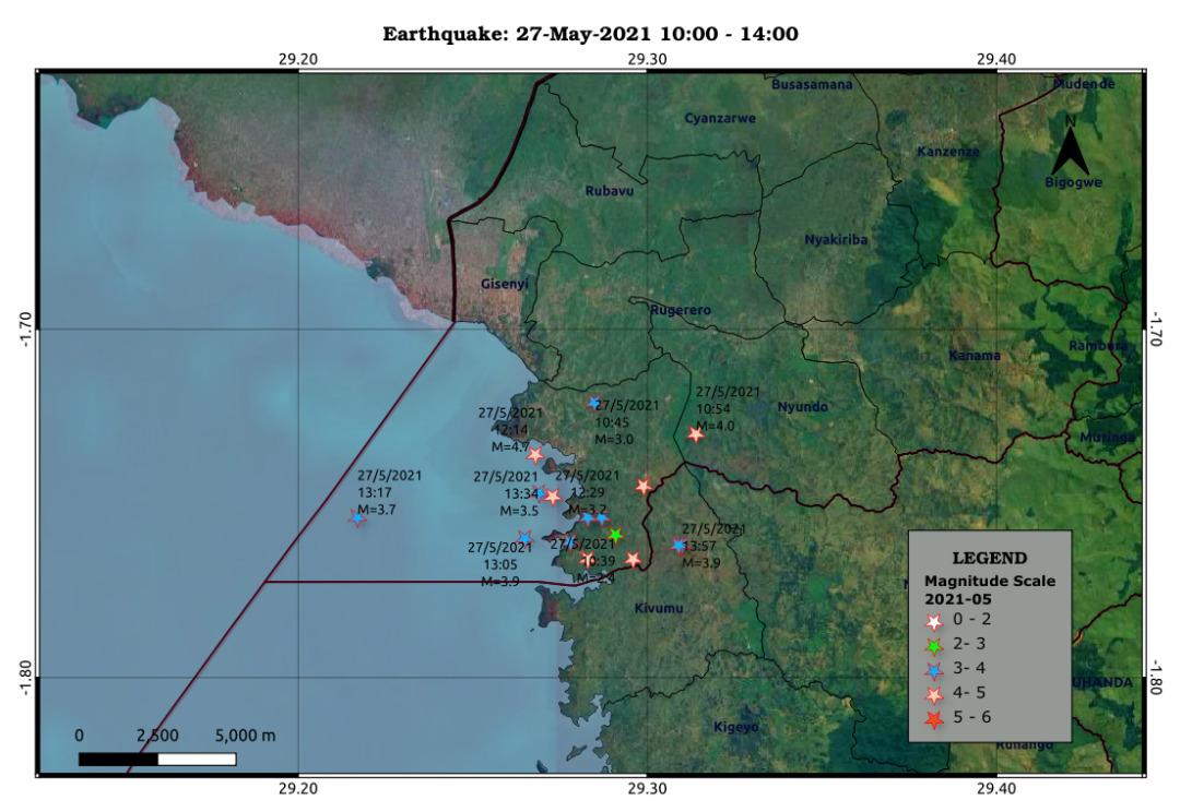 Nylige jordskælv i nærheden af vulkanen Nyiragongo (billede: Rwanda Seismic Monitor)