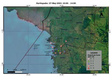 Recent earthquakes near Nyiragongo volcano (image: Rwanda Seismic Monitor)