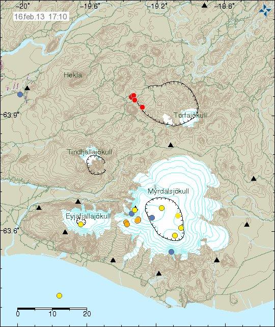 Map of recent quakes under Torfajökull (Iceland Met Office)