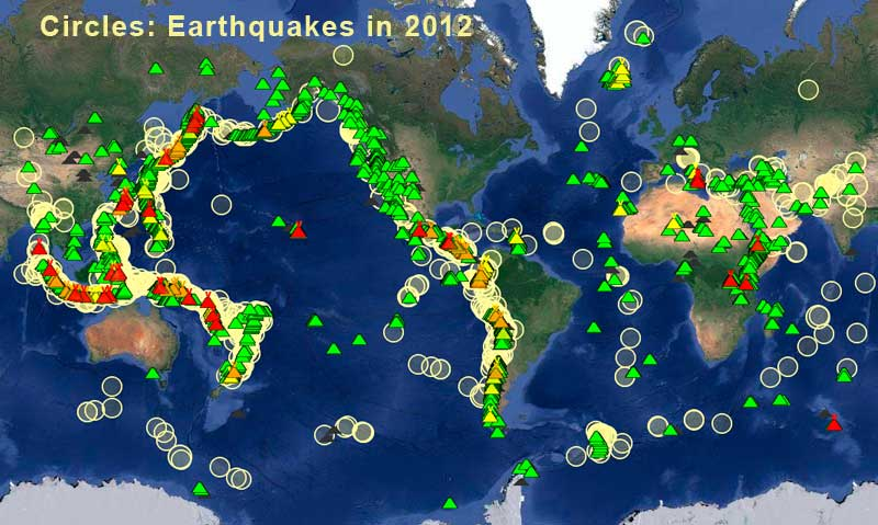 Location of earthquakes during July-Dec 2012 (only quakes >= mag 5) and active volcanoes (triangles) worldwide
