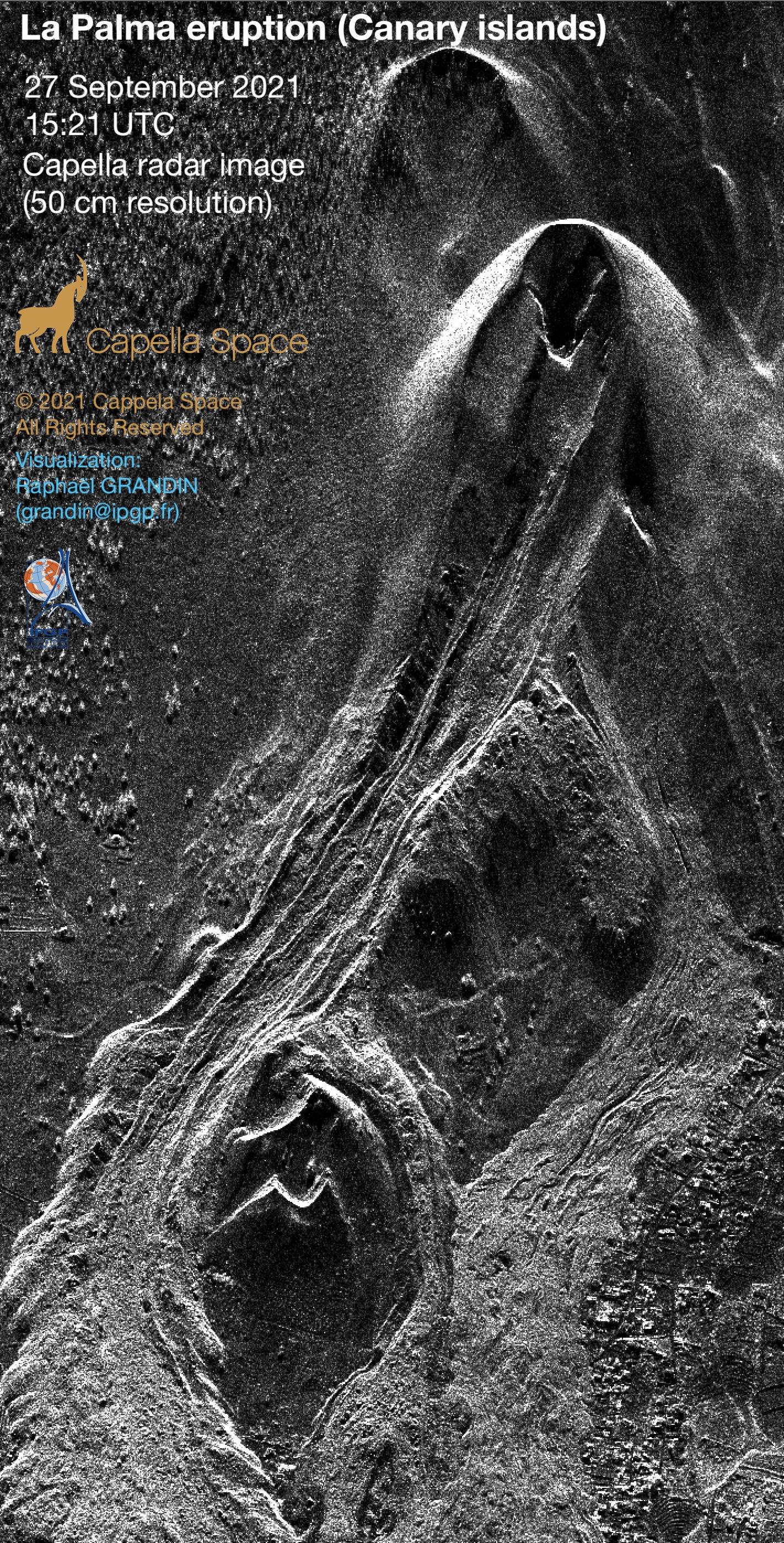 Radar image of the current La Palma eruption (image: Capella Space/twitter)