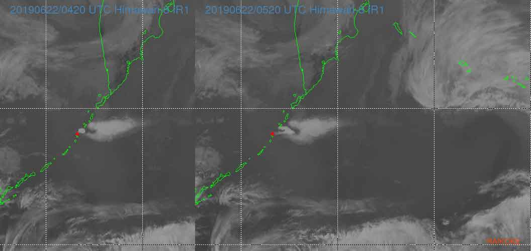 The second pulse of the eruption earlier this morning seen from Himawari-8 satellite (image: VAAC Tokyo)