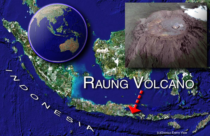 Raung volcano satelite image by (c) Google Earth View