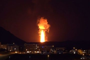 Lava fountains associated with gas and steam plumes visible from Iceland's capital Reykjavík (image: @gislio/twitter)