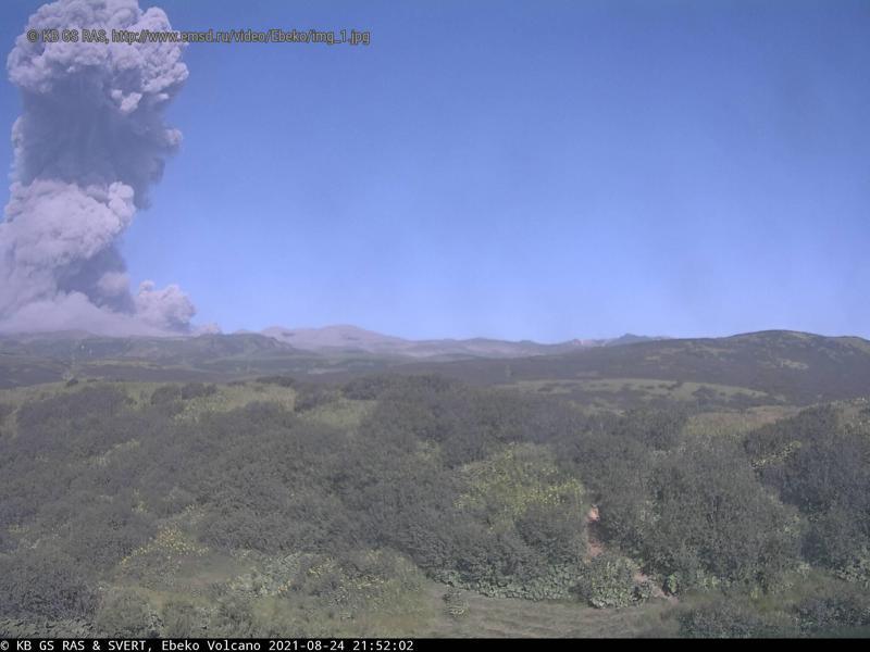 Webcam screenshot of the yesterday's explosion at Ebeko volcano (image: KVERT)