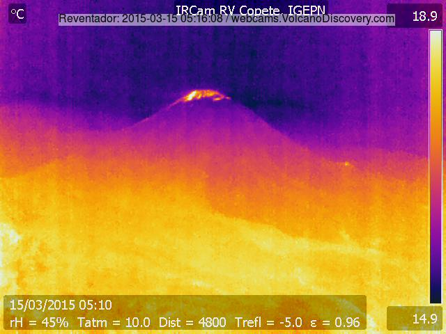Infrared image of Reventador volcano on 15 Mar (IGEPN)