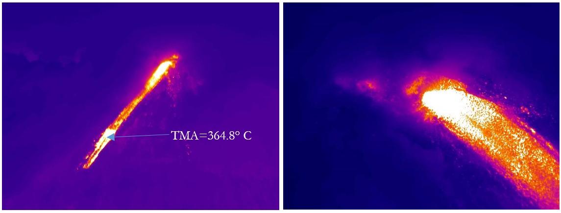 Infrared image of the lava flow on Reventador volcano on 10 Nov (IGEPN)