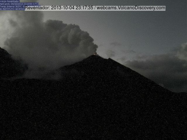 Reventador volcano last evening with crater glow and steam/ash venting