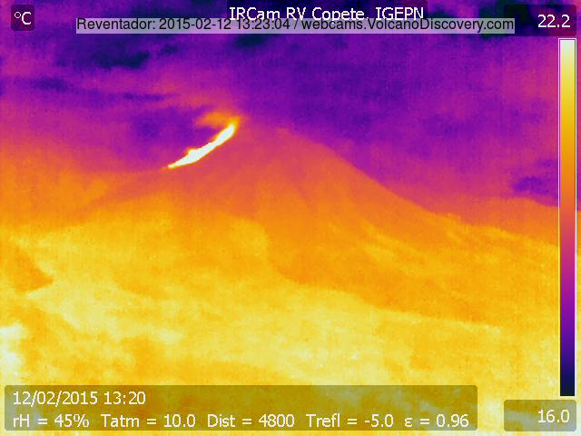 Thermal image of Reventador's new lava flow today