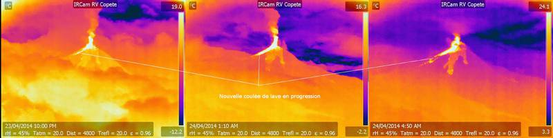 Infrared images of Reventador volcano yesterday showing what could be a lava fountain and new lava flow (Annotations: Culture Volcan, images: IGPEN)