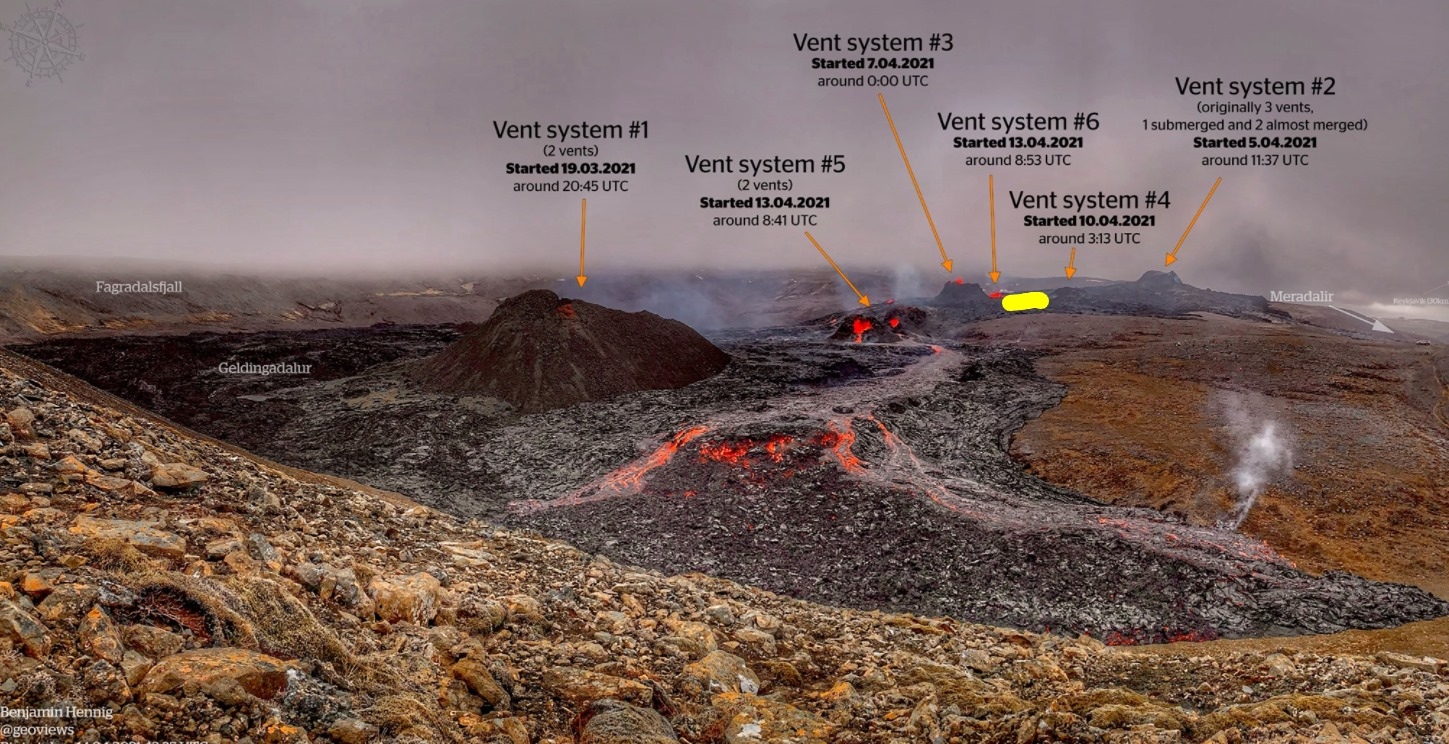 Yellow mark indicates the spot of the new fissure vent. The image shows all current eruptive fissures at the eruption site (image: @Icevolcanx/twitter)