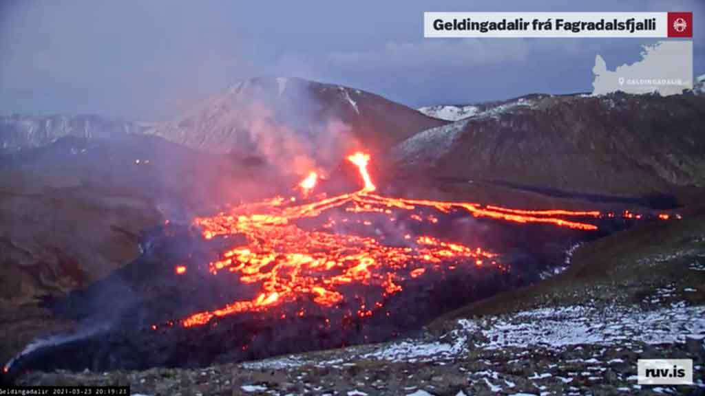 View of the ongoing eruption in Iceland this evening (image: RUV webcam)